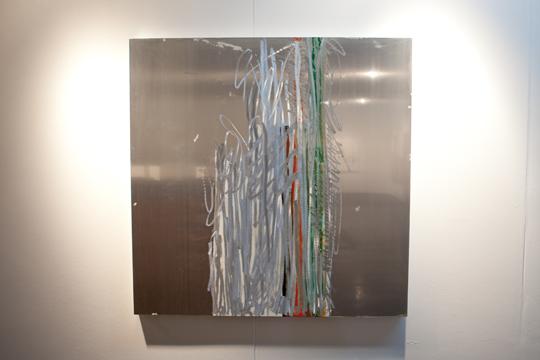 Unpainting (Fettled Form). 122 x 122cm. gloss paint & resin on aluminium.jpg